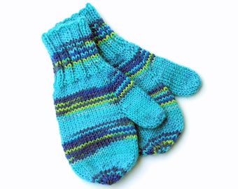 Toddler Boy Knit Blue Mittens With Thumbs. 12 to 18 Months. Kids Thumbed Winter Mittens. Childs Wool Handwarmers. Toddler Boy Gift