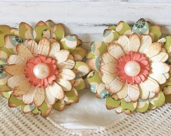 Vintage Style Green Spring Paper Flower Embellishments set of 2