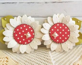 Spring Red Polkadot White Flower Embellishments Set of 2