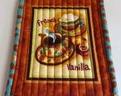 French Vanilla/Mocha Quilted Mug Rugs - Set of 2