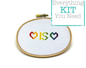 Love is Love Counted Cross Stitch DIY Kit - Everything You Need - 3x5 Inches