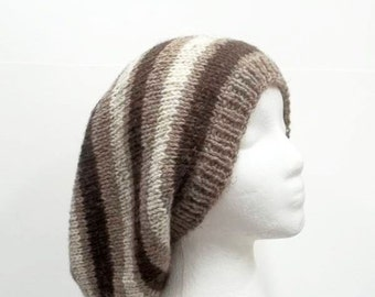 Stripes of brown slouchy beanie handmade   5210