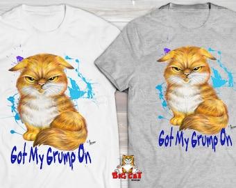 GOT my GRUMP ON Grumpy Cat T-shirt.  Orange Tabby Cat Shirt. Cat tshirt. Sarcastic Cat, Cat lover gift