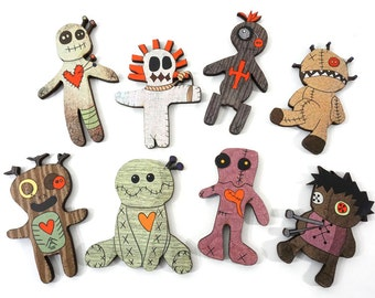 Wood Voodoo Dolls - Collection of 8 Pieces for getting Revenge on your Enemies