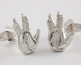 Spock Cufflinks, Live Long & Prosper, Sterling Silver, personalized