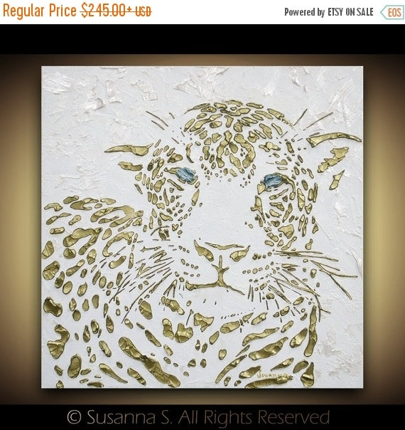ORIGINAL Art Cat Painting Leopard Panther Safari Abstract Contemporary white gold palette knife fine art textured canvas by susanna
