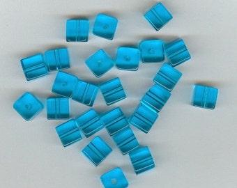 CLEARANCE 8mm Vivid Sky Blue Glass Cube Beads