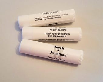 Personalized Lip Balm Wedding Monogram Party Favors Tube Peppermint