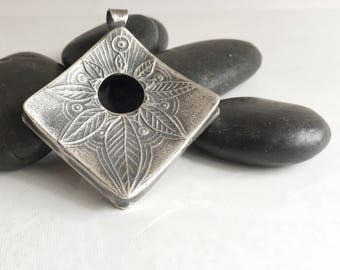 Large Pure Silver Yoga Meditation Lotus Pendant Necklace, Pendant with Purpose, Seconds to Center, handmade, yoga mindful diamond square