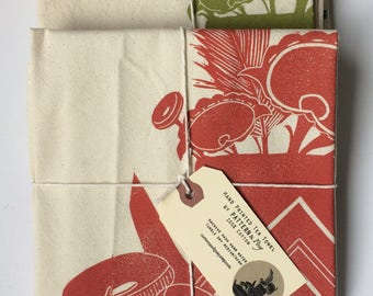 Poppy Teapot and Flowers Block Printed 100% cotton Flour Sack Towel- Original Teapot Designs-Block printed towel
