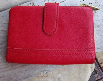 SALE Vintage Fossil Red Leather Wallet | Ladies Wallet | Foldover Wallet | Bright Red Leather | Ladies Wallet Under 50 | Designer Wallet