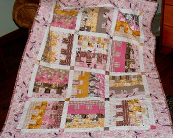 Handcrafted Quilt Using Daisy Cottage Fabric by Lori Holt Riley Blake Designs