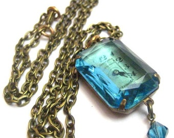 Hidden Aqua Gem ... Steampunk Gemstone and Vintage Glass with Antique Watch Dial One of a Kind Creation