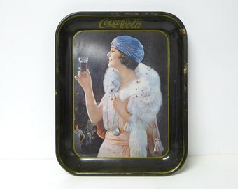 1925 Party Girl . 1970s reproduction . Coca Cola tin tray