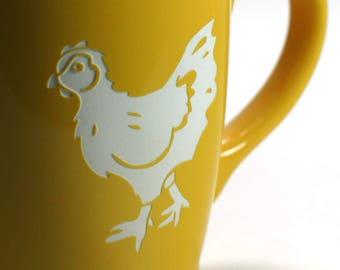 Chicken Mug - hen coffee cups - Choose Your Color