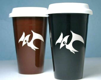 SALE - Pterodactyl Dinosaur Travel Mug - lidded coffee cup
