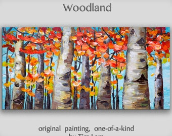 Sunny Fall Birch Painting, Wall art, Original abstract Oil painting, Modern decor, Wall hanging, by Tim Lam. Canvas size: 48x24 inches