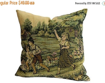 BIG SALE - Vintage Tapestry & Ticking Pillow - Green Ticking - Children Playing - Romantic French Farmhouse