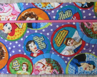 Say it Sassy Zippered bag - Zippered Pouch - Quilted Bag - Cosmetic Bag - Travel Bag - Project Bag - Gadget Bag