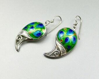 Fine silver cloisonne enamel, green, sterling silver earrings