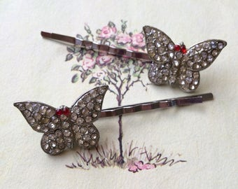 Rhinestone Butterfly Hair Pins, Silver Tone, Upcycled Vintage Earrings, Set of Two