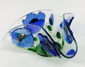 Fused Glass Candle Holder/Votive (Blue Poppies)
