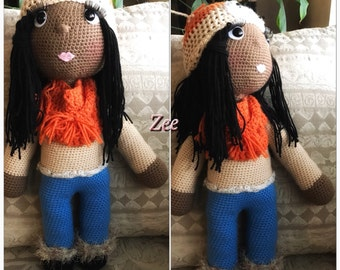 African American Crochet Doll .. 24""""