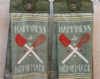 SET of 2 - Hanging Cloth Top Kitchen Hand Towels - Happiness Is HOMEMADE Print - Larger PRINTED Towels