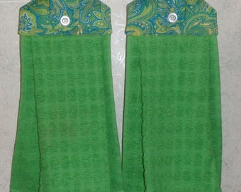 SET of 2 - Hanging Cloth Top Kitchen Hand Towels - Blue and Green Paisley Print and Bright Green Towels