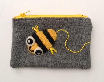 Zippered coin purse pouch purse gray wool fabric with a needle felted busy bee