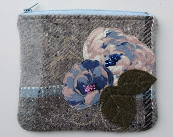 Zippered purse pouch purse light dark gray blue wool fabric with rawedge applique flowers