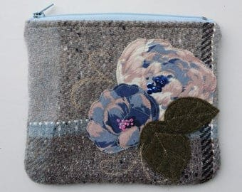 Zippered purse pouch light dark gray blue wool fabric with rawedge applique flowers