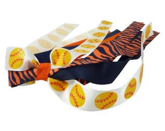 You pick colors- Softball Glitter pony Bow- navy blue and orange zebra- bling hair ribbon holder