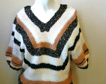 Closing Shop Sale 40% Off Vintage mohair STRIPED multi texture KNIT short sleeve Sweater Top