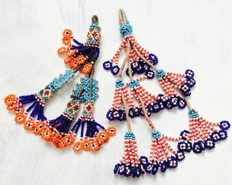 2 Vintage Kuchi Tribal Beaded Tassels. Bag Tassels, Door Decor, Belly Dance Costumes! #4