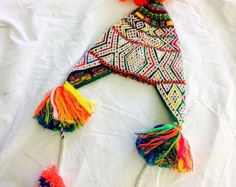 Beaded Shaman Ch'ullo From Q'ero Peru Wool Blend Winter Hat Colorful Pom Poms Tassels Earflaps Chullo