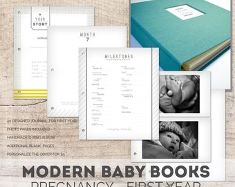 NEUTRAL Modern Baby Memory Book (Ocean Cover, Neutral Pages 9.25 x 9.5)