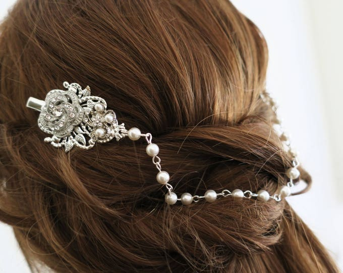 Pearl Head Chain Bridal Hair Swag with Crystal Rose and Leaves