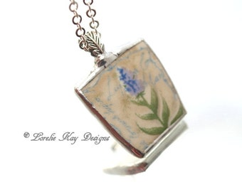 Lilacs Broken China Necklace Soldered China Sweet Garden Theme Pendant