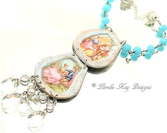 Romantic Tin Necklace Courting Couple Floral Renaissance Couple Summer Lightweight Jewelry