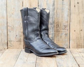 Mens Roper Boots, Us 7.5, Uk 7, Eu 40, Black Leather Boots, Men Cowboy Boots, USA MADE, Justin Boots, Round Toe Boots, Black Biker Boots,