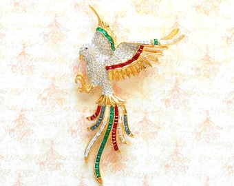 Vintage Multi Color Crystal Gold Bird Brooch - Pave Rhinestone, Siam Red, Montana Blue, Emerald Green, Wings, Gold Claws, Long Tail Feathers