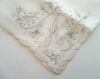 Vintage Monogram A Handkerchief with Silvery White Madeira Embroidery