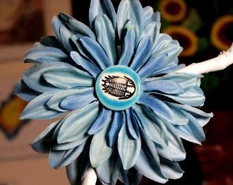 Trilobite Fossil Flower Hair Clip in Blue