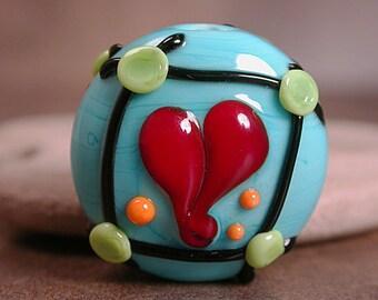 Lampwork Focal Bead Framed Heart On Lime Green Divine Spark Designs SRA