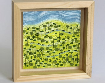 """Morning Drive, framed painting, 8""""x8"""""""