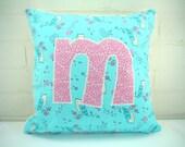 Custom Listing Marie Hersch, Monogram Pillow, M Initial Pillow, Throw Pillow, M Letter Pillow