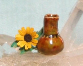 Small Miniature Bud Vase with Fiery Glaze and Sunflower for One Inch Scale Dolls House