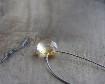 Citrine necklace - small basket cut golden citrine briolette on grey silk cord - floating gemstone - citrine pendant - November birthstone