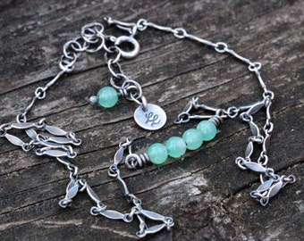 Chrysoprase sterling silver beaded minimalist necklace
